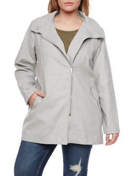 Plus Size Coat with Asymmetrical Zip Front - 3885051065202