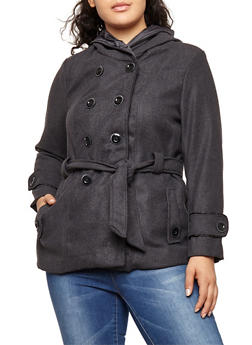Plus Size Wool Hooded Peacoat - CHARCOAL - 3885051067451