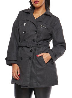 Plus Size Belted Peacoat - 3885051068351