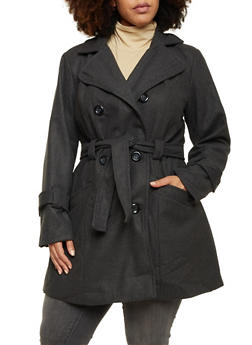 Plus Size Wool Peacoat with Removable Belt - 3885051069684