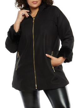 Plus Size Faux Fur Trimmed Jacket - 3885051069741