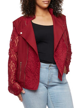 Plus Size Moto Jacket with Lace Detail - 3886009423253