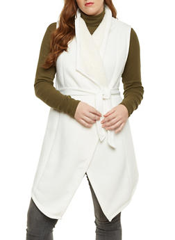 Plus Size Belted Fleece Vest - IVORY - 3886038341472