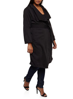 Plus Size Fleece Duster - BLACK - 3886038341570