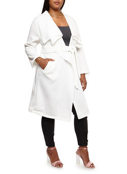 Plus Size Fleece Duster - 3886038341570