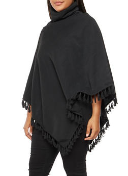 Plus Size Fringe Poncho - BLACK - 3886038342592
