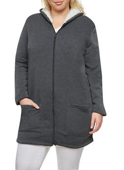 Plus Size Sherpa Lined Tunic Sweatshirt - 3886038342596