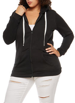 Plus Size Sherpa Lined Zip Up Hoodie - 3886038342597