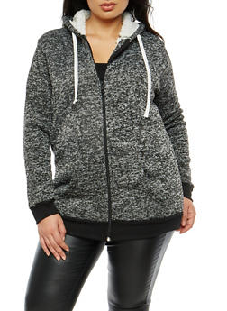 Plus Size Sherpa Lined Zip Up Hooded Sweatshirt - 3886038342598