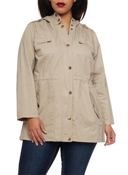Plus Size Anorak Jacket with Drawstring - 3886038347041