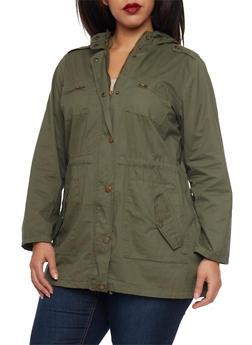 Plus Size Anorak Jacket with Drawstring - OLIVE - 3886038347041