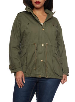 Plus Size Drawstring Hood Jacket - 3886038347043