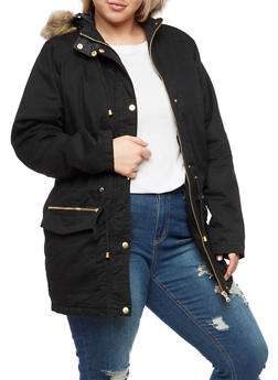 Plus Size Anorak Jacket with Faux Fur Hood - BLACK - 3886051060007