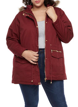 Plus Size Anorak Jacket with Faux Fur Hood - BURGUNDY - 3886051060007