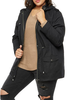 Plus Size Solid Twill Anorak Jacket - BLACK - 3886051060909
