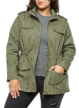 Plus Size Solid Twill Anorak Jacket - OLIVE - 3886051060909