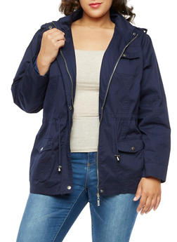 Plus Size Solid Twill Anorak Jacket - NAVY - 3886051060909