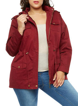 Plus Size Solid Twill Anorak Jacket - 3886051060909