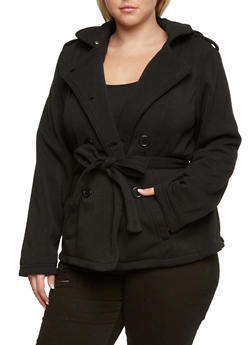 Plus Size Peacoat with Removable Hood and Waist Belt - 3886051061680