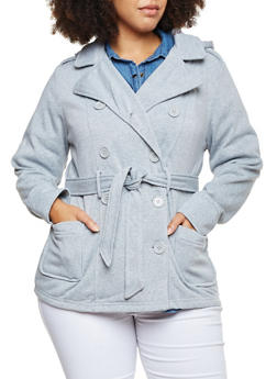 Plus Size Fleece Peacoat with Hood and Belt - 3886051061830