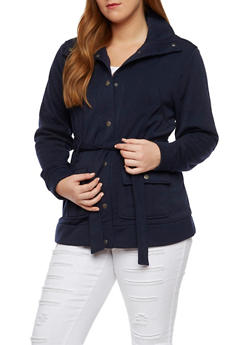 Plus Size Fleece Jacket with Belt - 3886051062817