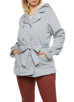 Plus Size Peacoat with Belt - 3886051062833