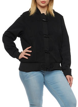 Plus Size Knit Jacket with Sherpa Lined Hood - 3886051062890
