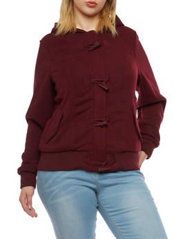 Plus Size Knit Jacket with Sherpa Lined Hood - BURGUNDY - 3886051062890