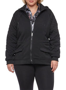 Plus Size Jersey Hooded Jacket with Quilted Sleeves - 3886051063950