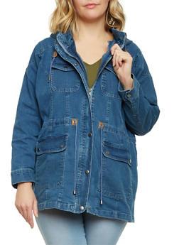 Plus Size Denim Anorak Jacket - 3886051064818