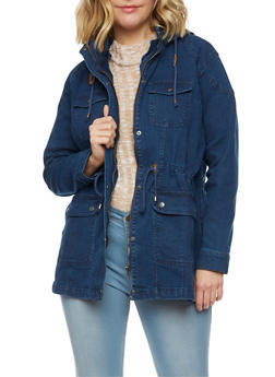 Plus Size Denim Anorak Jacket - 3886051064818