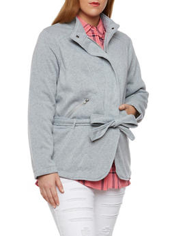 Plus Size Belted Fleece Jacket with Asymmetrical Zip Front - 3886051064855