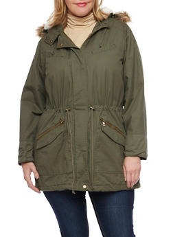 Plus Size Hooded Jacket with Faux Fur Trim - 3886051064939