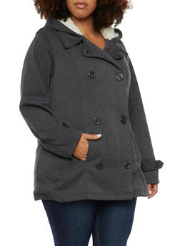 Plus Size Peacoat with Faux Shearling Lining - 3886051065248