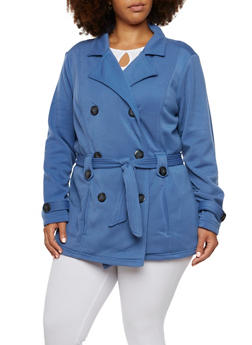 Plus Size Peacoat with Removable Waist Belt - 3886051065277