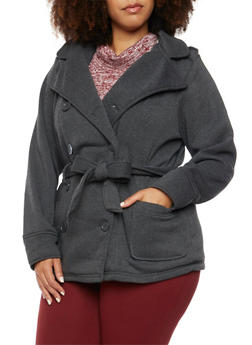 Plus Size Hooded Peacoat with Belt and Lining - 3886051065381