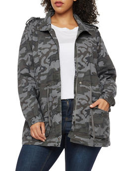 Plus Size Twill Camo Anorak Jacket - GRAY - 3886051065400