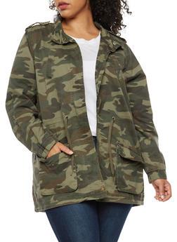 Plus Size Twill Camo Anorak Jacket - OLIVE - 3886051065400