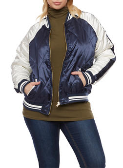 Plus Size Bomber Jacket with Diamond Quilting - 3886051065538