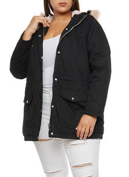 Plus Size Fur Trimmed Anorak Jacket - 3886051066006
