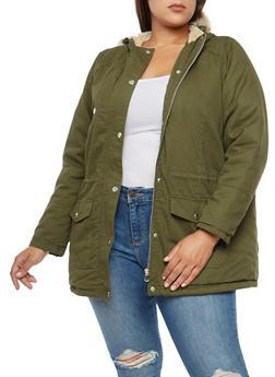 Plus Size Fur Trimmed Anorak Jacket - OLIVE - 3886051066006