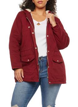 Plus Size Fur Trimmed Anorak Jacket - BURGUNDY - 3886051066006
