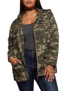 Plus Size Camo Anorak Jacket - OLIVE - 3886051066100