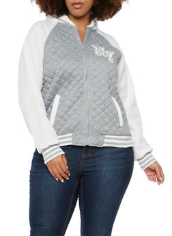 Plus Size Varsity Hoodie with Quilted Paneling - 3886051067100