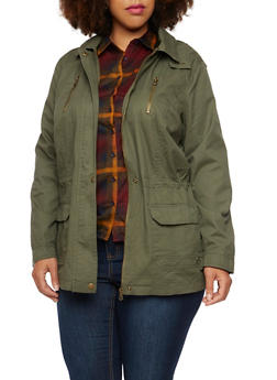 Plus Size Hooded Jacket with Drawstring Waist - 3886051069620