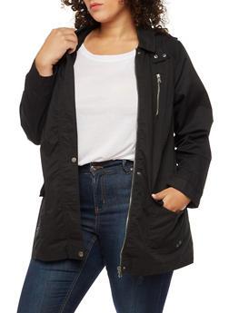 Plus Size Anorak Hooded Jacket - BLACK - 3886051069622