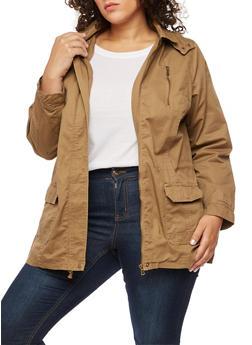 Plus Size Anorak Hooded Jacket - TAN - 3886051069622
