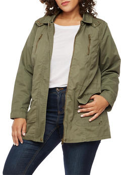 Plus Size Anorak Hooded Jacket - OLIVE - 3886051069622