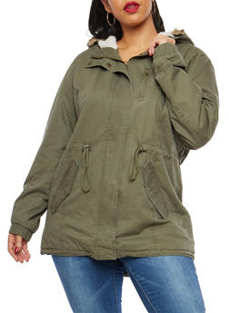 Plus Size Hooded Zip Up Anorak Jacket - 3886054260777
