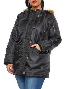 Plus Size Hooded Anorak Jacket - 3886054260871